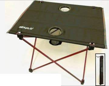 FOLDING ALUMINIUM CAMPING TABLE with CUP HOLDERS & CARRY BAG picnic boat hiking